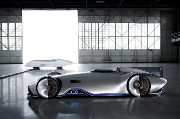 Mercedes-Benz Vision EQ Silver Arrow with old car