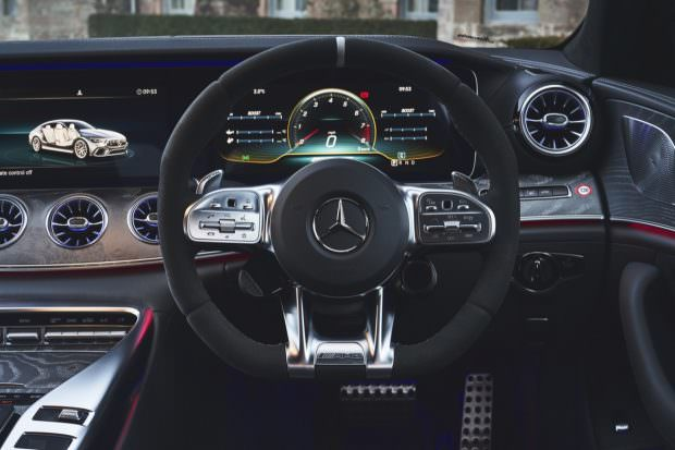 Mercedes-AMG GT four-door steering wheel